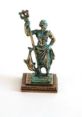 ANCIENT GREEK ZAMAC MINIATURE OF POSEIDON green gold