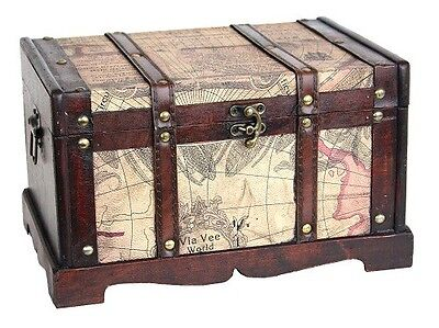 Hope Chest Trunk Vintage Old World Map Wooden Storage Collectables Treasures