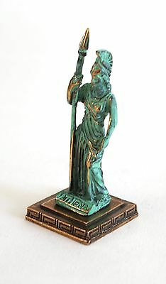ANCIENT GREEK ZAMAC MINIATURE OF ATHENA green gold