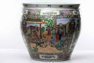 Antique Huge  Chinese Famille Porcelain Fish  Bowl Guangxu Planter Jardinier