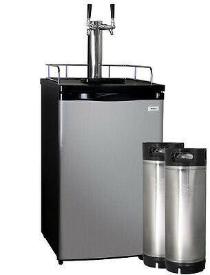 Kegco Full-Size Homebrew Kegerator Dual Tap Stainless Steel with Ball Lock Kegs