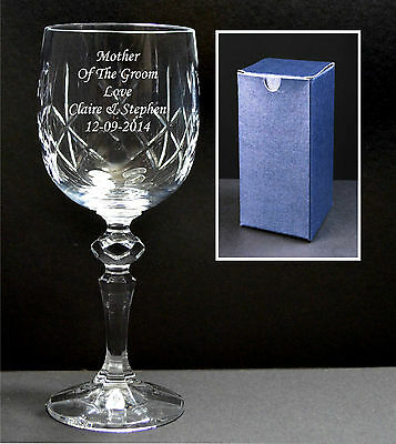Personalised Engraved Lead Crystal Wine Glass, Any Message Retirement Gift Boxed