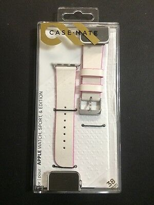 Genuine Case-Mate Edged Leather Strap Band for Apple Watch 38mm Pink CM032785 (K