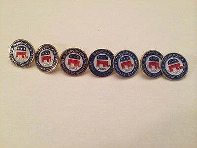 Lot Of 7 Republican National Committee Pins- Assorted Years- Free Shipping