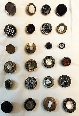 Beautiful Group Of 24 Nice Victorian Drum Buttons Metal Copper Shell Paper Ome