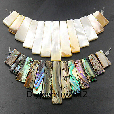 6x11-6x28mm Natural Gemstone Abalone Shell Pendant 13Beads DIY Necklace Design