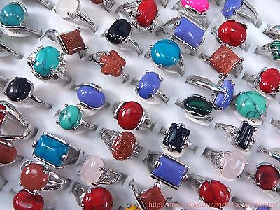 wholesale lot 10pcs fashion rings with genuine agate gemstones