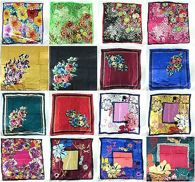 lot of 5 large satin square scarf wholesale bulk vintage floral peony bohemian