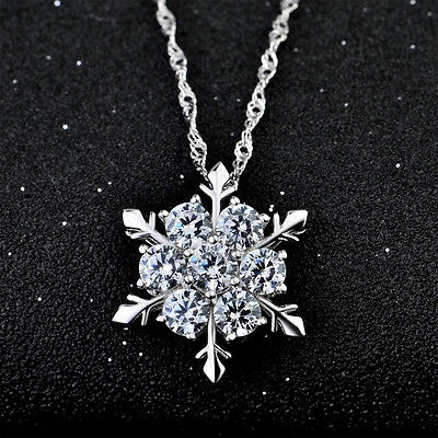 Hot Charm Lady Women 925 Silver Plated Frozen Snowflake Pendant Necklace