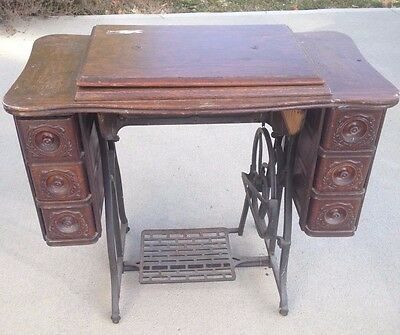Antique Sewing Machine Table With 3 Drawers