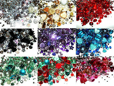 CandyCabsUK Mixed Gemstones Pearls Rhinestone Jewels CHOOSE COLOUR 50g 2000pcs