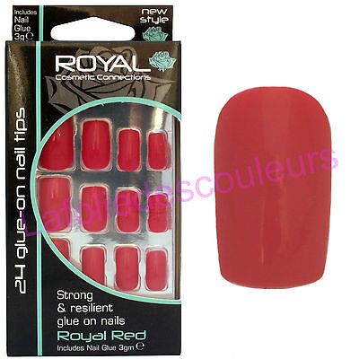24 faux ongles & colle - rouge - Royal Red de Royal - 24 false nails & glue