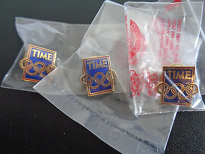 TIME MAGAZINE Olympic Rings Pin Lot of Collectible Group of 3 Pins 1/2 inch