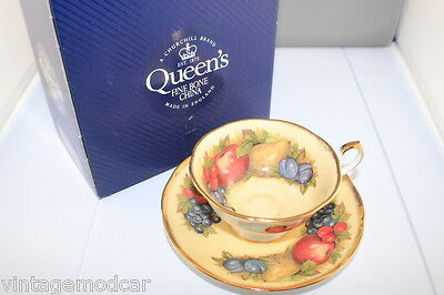 Queen's Fine Bone China Antique Fruit Cup & Saucer  Mint & Boxed