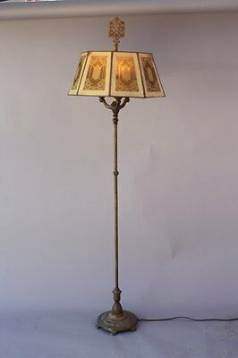 1920s Floor Lamp w Metal Mesh Octagonal Shade Spanish Revival Home Light (6936)