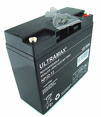 2 x ULTRAMAX 12V 22Ah (17Ah & 20Ah) - Batterie Scooter Fauteuil Roulant