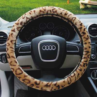 Universal Leopard Plush Stretch-On Vehicle Car Steering Wheel Cover Protector