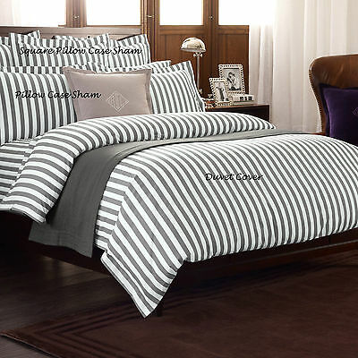 Ralph Lauren - Club Stripe Charcoal Flat Sheets 100% Cotton Over 50% Off Rrp - X