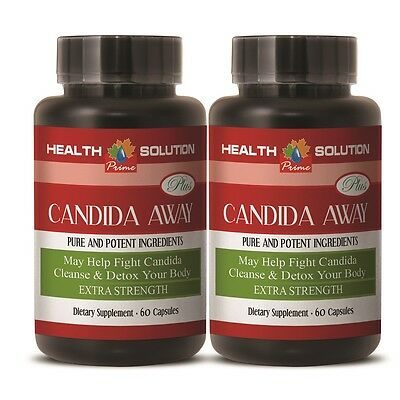 CANDIDA AWAY Detox Dietary Supplement For Your Body 2 Bottles - 120 Capsules
