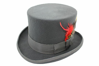 Gentleman 100% Wool High Quality Dark Grey Traditional Felt Top Hat With Feather