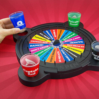 Wheel of Misfortune Adult Party Drinking Game Pub Fun Shot Glasses & Dice Gift
