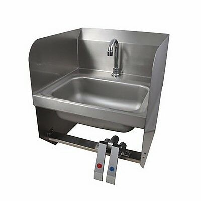 Stainless Steel Commercial Wall Mounted Hand Sink with Side Splash 19.5 x 17 LW