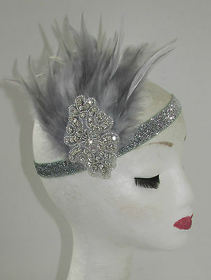 Grey Silver Feather Headpiece 1920s Vintage Headband Fascinator Flapper Deco T77