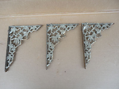 Vintage Set of 3 Cast Iron Ornate Shelf Brackets Door Arch Architectural NICE B