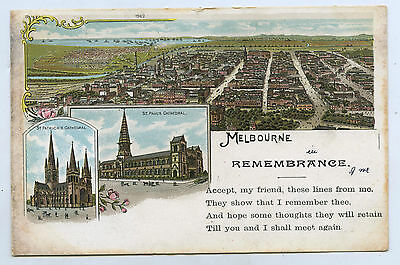 C1905 Pt Pu Ub Postcard Melbourne In Remembrance Two Cathedrals C51