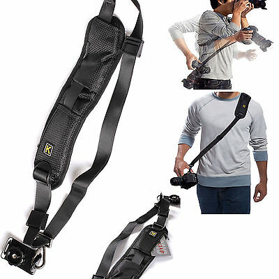 Quick Rapid Single Shoulder Sling Black Belt Strap for Digital SLR DSLR Camera U