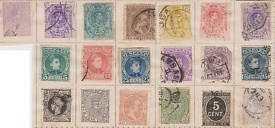 (JQ-484) 1874-1909 SPAIN 19mix 5c to 25c