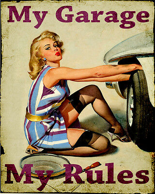 My Garage My Rules Pin Up ENAMEL METAL TIN SIGN WALL PLAQUE