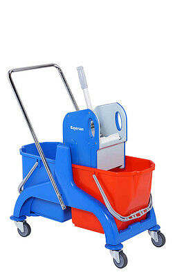 50L Kentucky Mop Bucket Trolley - STRONG WRINGER, Double Bucket DIRTY VS CLEAN