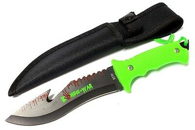 Defender Zombie-War Stainless Steel Hunting Knife with Neon Green Handle 8272