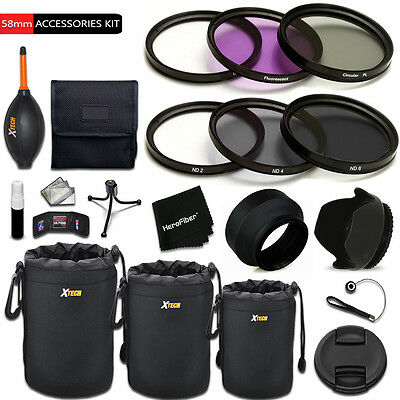 Xtech Kit for Canon EOS Rebel T5 - PRO 58mm Accessories KIT w/ Filters + MORE