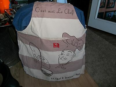 New Rue Montmartre Full Apron Over The Head W/ties On Sides & Lg Dinner Napkin