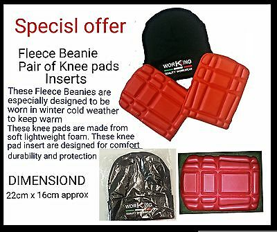 New Kneepads Inserts Work Knee Pads Protection Replacement+Fleece Beanie Bundle