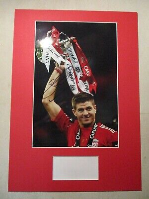Liverpool Legend Steven Gerrard Carling Cup Genuine Signed A3 Mounted Photo- Coa