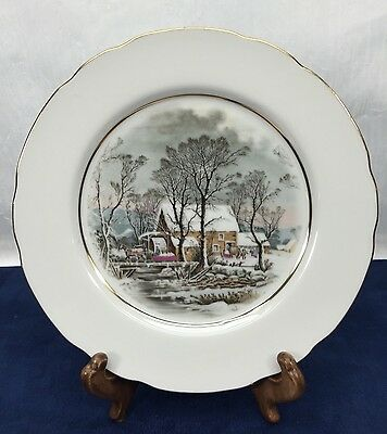 Avon Currier & Ives Winter Collectors Plate Dish1970s Vintage