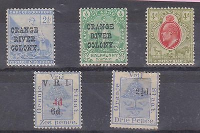 (JS-39) 1897-1903 Orange River country 5mix ½d to 6d