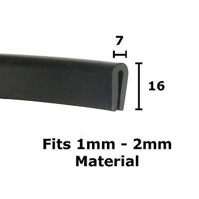 BLACK Rubber U Channel Edging Trim Seal 16mm x 7mm from The Metal House
