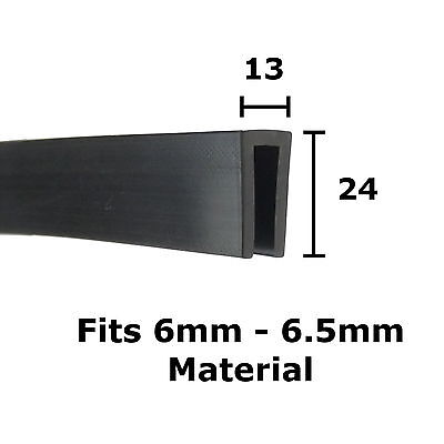 BLACK Rubber U Channel Edging Trim Seal 24mm x 13mm by THE METAL HOUSE