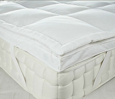 Luxury Dual Layer Goose Feather & Down Mattress Topper 7cm/3inch Thick All Sizes
