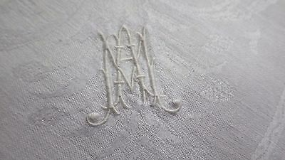 6 Huge LINEN DAMASK DINNER NAPKINS Monogram MA / AM, 2 LOVE BIRDS & BUTTERFLY