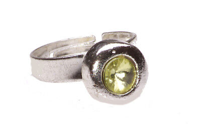 New Festival Boho Fashion Silver Adjustable Ring With Light Green Crystal(Zx49)