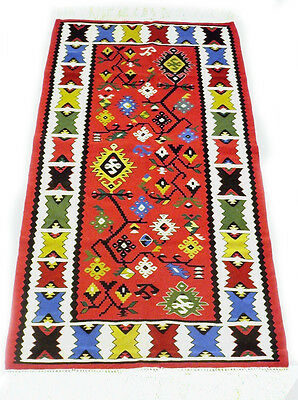 "Antique vintage tribal handmade hand-knotted kilim rug (32""x 65"") pure wool  #26"