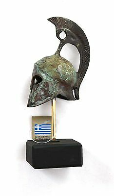 Ancient Greek Bronze Miniature Helmet On Stand Bronze Oxidization 1385-1