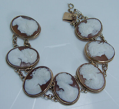 """14K Yellow Gold Carved Shell Seven Cameo Large Bracelet Vintage Jewelry 8"""" Long"""