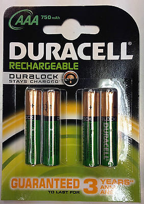 Duracell AAA 750 mAh Rechargeable Batteries NiMH ACCU LR03 HR03 DC2400 Pack of 4