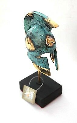 Ancient Greek Bronze Miniature Helmet On Stand Green Gold Oxidization 389-1